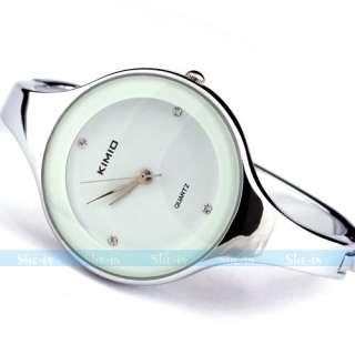 Ladies Fashion Concise Bracelet Quartz Round Wrist Watch White Women