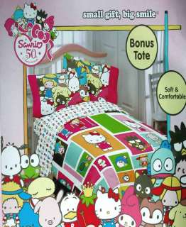 HELLO KITTY AND FRIENDS SANRIO TWIN COMFORTER SHEETS 4PC BEDDING SET