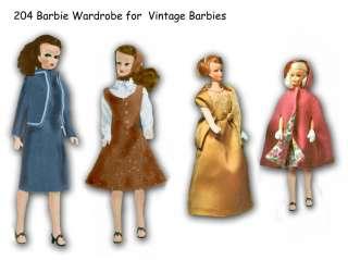 204 Barbie Teen Doll Wardrobe pattern 11 1/2 1960s