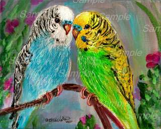 GREEN & BLUE BUDGIE GICLEE Bird Painting Flower Pet PARROT Parakeet