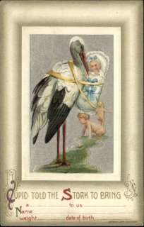 BIRTH ANNOUNCEMENT Stork Carrying Baby c1910 Frame Border Postcard