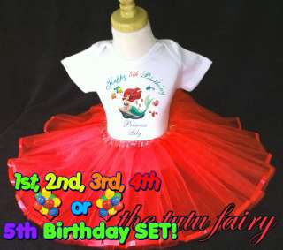 Little Mermaid Princess Birthday girl shirt & red tutu set outfit 1st