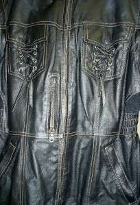 Harley Davidson Black Leather Jacket Zip Off Sleeves EC