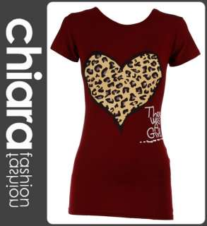 NEW BLACK LADIES LEOPARD HEART PRINT T SHIRT WOMENS TOP TEE SIZE S/M