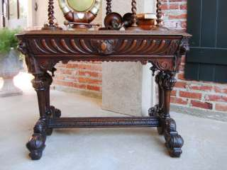 ORNATE Antique FRENCH Victorian Carved Oak Dolphin Library Desk Table