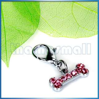 Pet Tag Dog Cat Collar Charm Dog Bone Clear Rhinestone