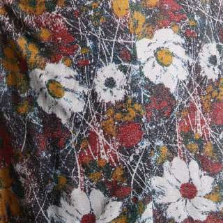 METALLIC FLORAL MAXI DRESS Vtg 70s Boho Festival Print Long Goddess