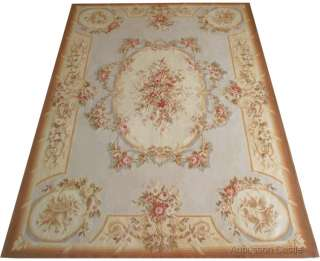 Rug PINK Roses LIGHT BLUE Background   Wool French Pastel $1600