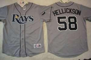 MAJESTIC Tampa Bay Rays JEREMY HELLICKSON SEWN Baseball Jersey Gray