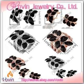 18K Gold Swarovski Crystal GP Black Flower Earring&Ring Set K003