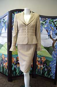 piece SUIT Jacket Skirt Pants (NWT) Blouse light Beige $1500 4 34/36