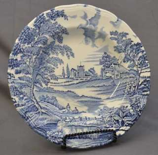 Luneville English Style Blue Transferware Soup Bowl