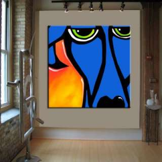 HUGE BLUE DOG ABSTRACT PAINTING ORIGINAL MODERN CONTEMPORARY ART by