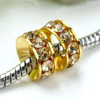 Rhinestone European Loose Bead Gold Plated Big Hole Job Lot