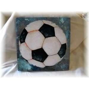 Large Soccer Ball Canvas Sports Sign Boys Bedroom Decor