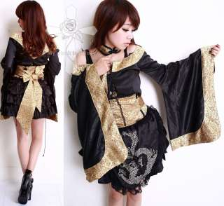 Oriental Geisha Treasure Golden Visual Kei 3PC Kimono