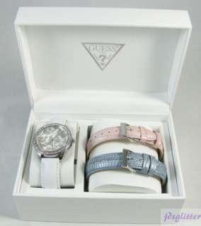 GUESS Silver Paisley w/ Crystals 3 Band Box Set NWT
