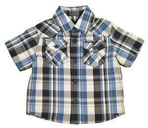 Hurley Infant Boys S/S Plaid Black White & Blue Shirt Size 12M 18M 24M