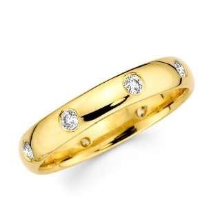 Round Diamond Wedding Band 14k Yellow Gold Anniversary Ring 1/4 CTW