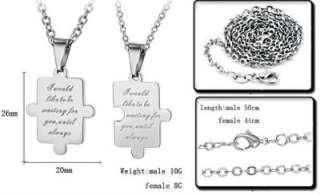 JN74 Stainless Steel Sweet Love Puzzle Couple Necklace