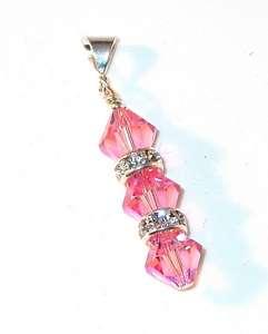 SWAROVSKI CRYSTAL ELEMENTS Sterling Silver Pendant ROSE PINK