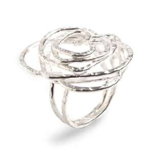 Sterling silver heart ring, Bubbling Love Jewelry
