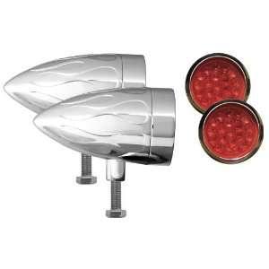 Flush Mount Flamed Chrome Target LED Motorcycle Bullet Light   Pair