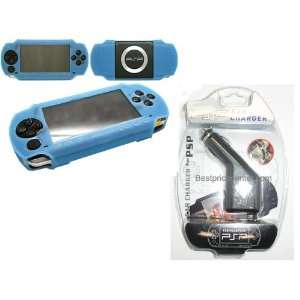 Baby Blue Silicon Skin for Sony PSP + Car Charger Cigarette Lighter