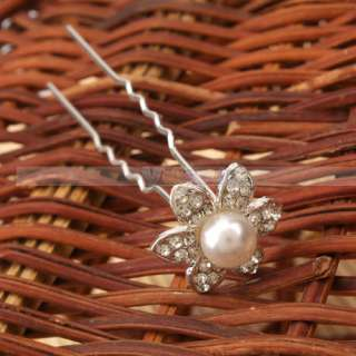 Wedding Bridal Hair Jewelry Pearl Flower shaped Pins Hairpins