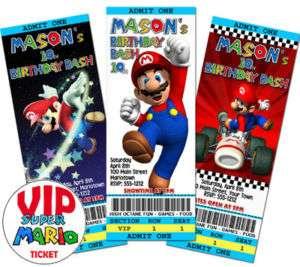15 SUPER MARIO Custom Birthday Invitations Ticket