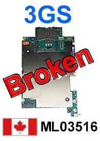 BROKEN Apple iPhone 3GS 16GB Motherboard Logic Board