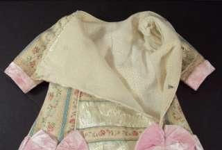 Cotton & Silk Satin Dress Antique for 24 Jumeau Steiner Bru Bebe Doll