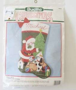 Bucilla Christmas Santas Gift Stocking Kit 1990   New