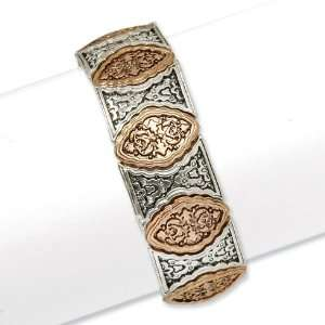 Silver tone and Copper tone Stretch Bracelet/Mixed Metal Jewelry