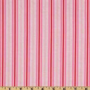 Folk Heart Stripe Pink/Raspberry Fabric By The Yard: Arts, Crafts