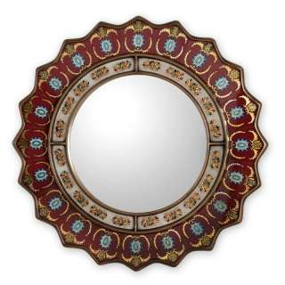RUBY MEDALLION Reverse Painted Glass MIRROR Peru ART Mirrors