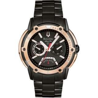 Bulova Marine Star Rose Gold Accented Black Stainlees Steel Mens Watch
