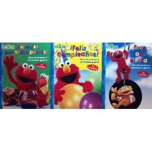 com Sesame Street Set of 3 SPANISH 96 Page Coloring Book Plaza Sesamo