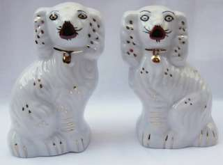 Pair of White & Gold Staffordshire Style Spaniel Dogs