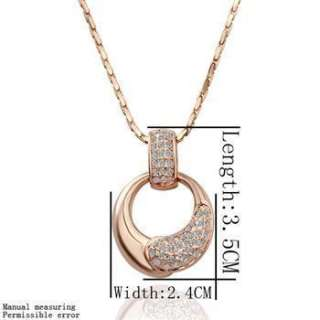ST5 18K rose Gold plated white gem Swarovski crystal necklace earring