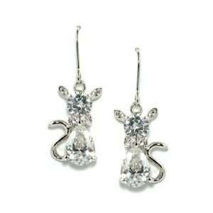 18K White Gold Plated Cute Clear White CZ Cat Dangle Earrings Jewelry