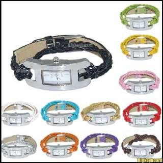 Cany Color Braid Strap Woven Knit Thin Bracelet Quartz Wrist Watch
