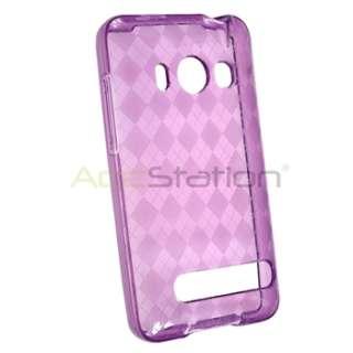 TPU Soft Gel Skin Case Cover+3 Screen Guard LCD For Sprint HTC EVO 4G
