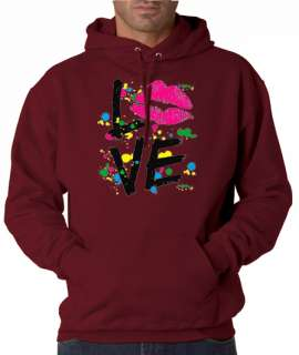 Love Lips Kiss Neon Paint 50/50 Pullover Hoodie