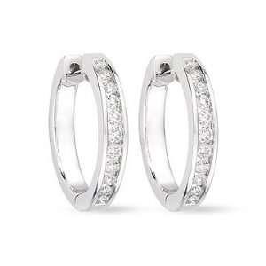 1/2 Carat Diamond 14K White Gold Hoop Earrings Jewelry