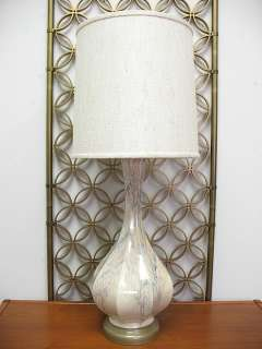 Vintage Hollywood Regency Pottery Table Lamp Pearlescent Drip Glaze