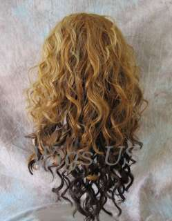 Wigs LACE FRONT Blonde Brown Mix curls skin top wig HEAT OK