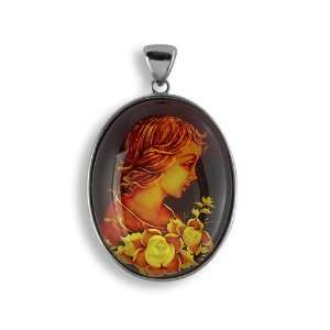 Detailed Hand Carved Cameo Classic Girl Flowers Floral Pattern Faux