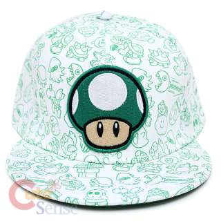 Super Mario Green Mushroom Flex Fit Hat Nintendo 1 UP Mushroom w/All