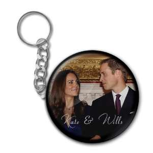 Kate Middleton Royal Wedding 2.25 Button Style Key Chain Everything